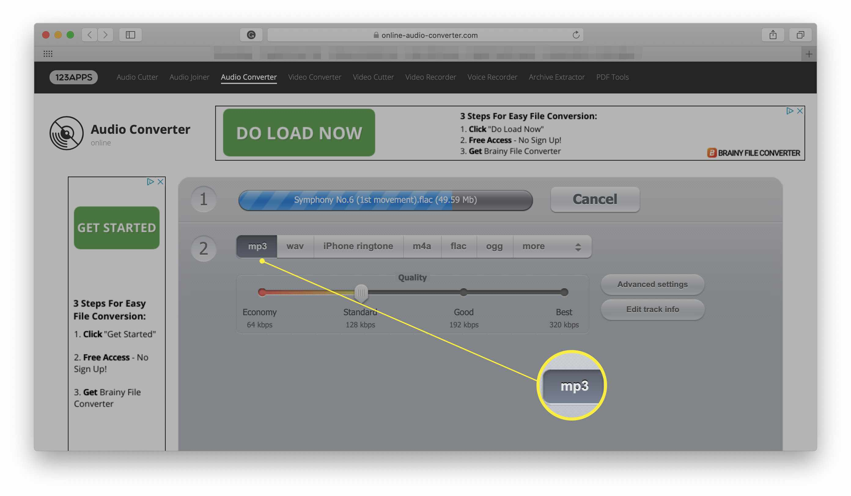 Online Audio Converter with MP3 file format highlighted