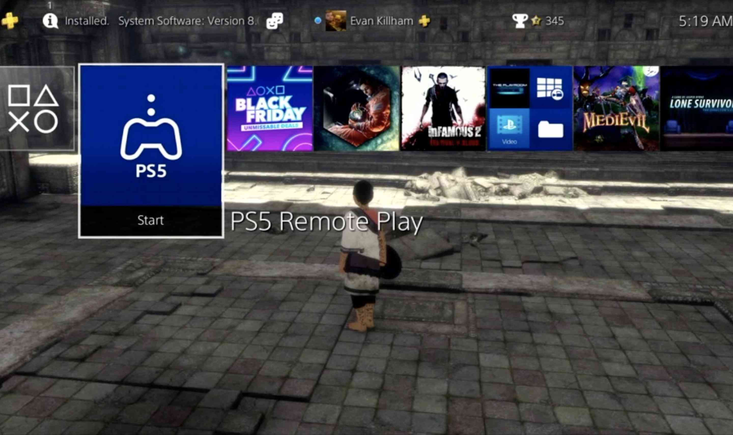 The PS5 Remote Play app on PS4
