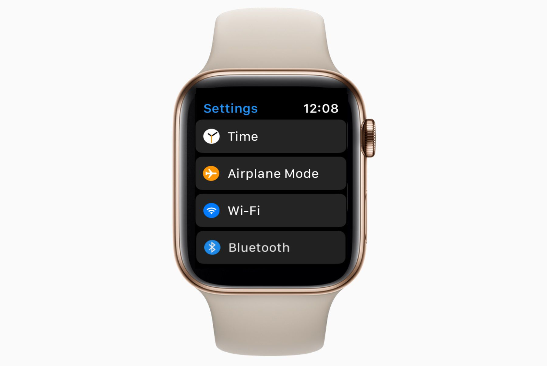 An Apple Watch showing the Settings app