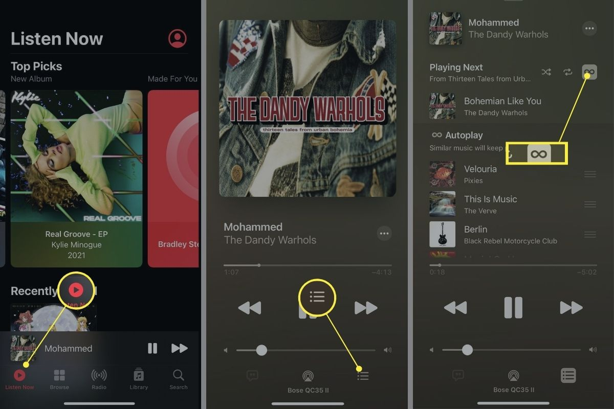 Turning off Autoplay settings in Apple Music app on iPhone.
