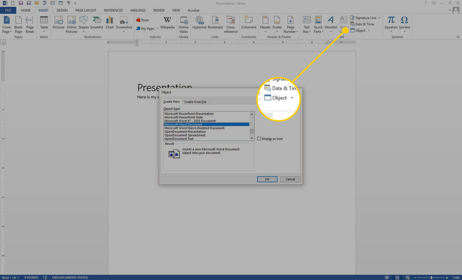 A Word document with the Object option highlighted in the Insert menu