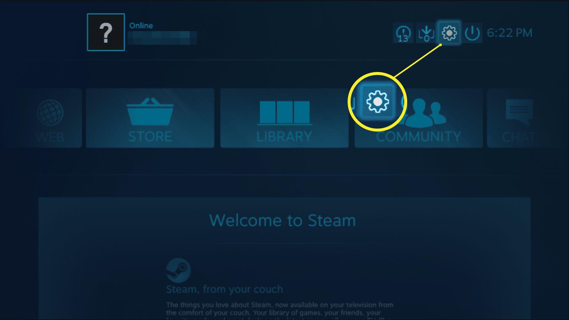 Steam settings icon