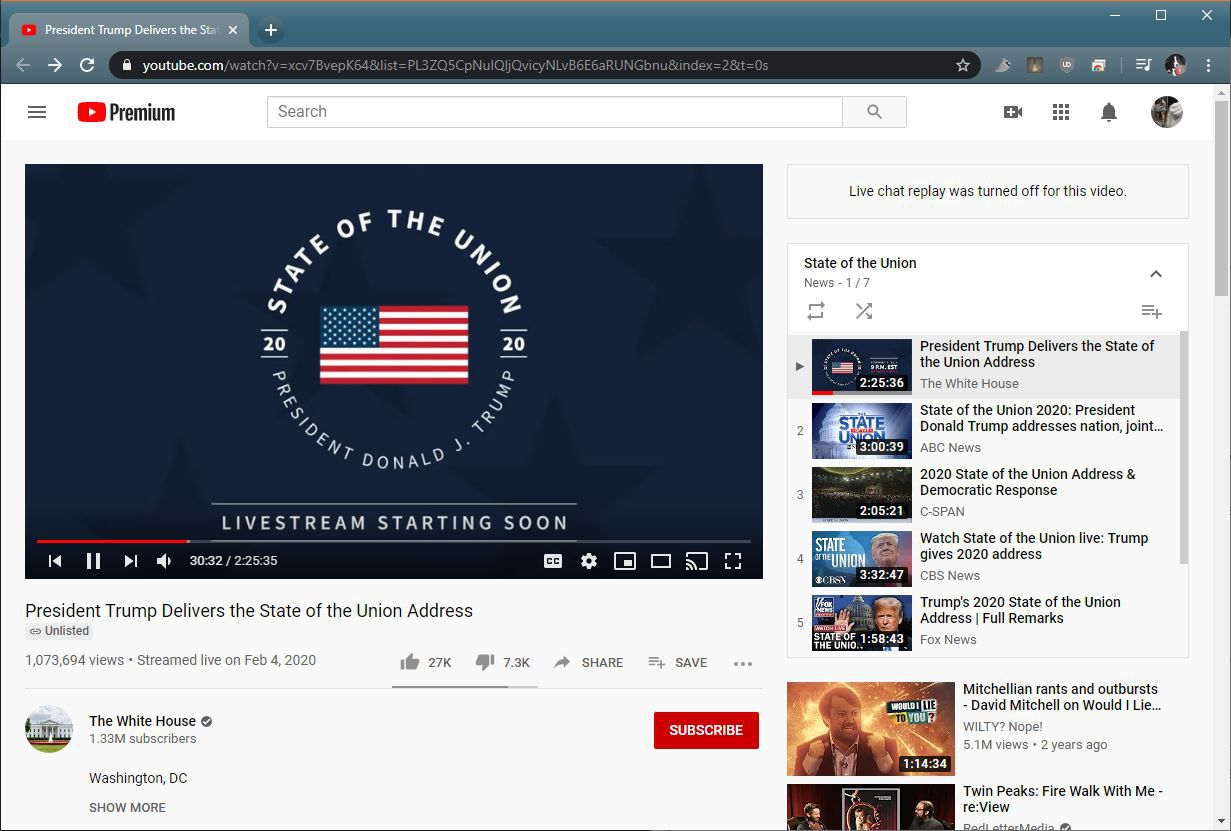 A screenshot of the State of the Union on YouTube.