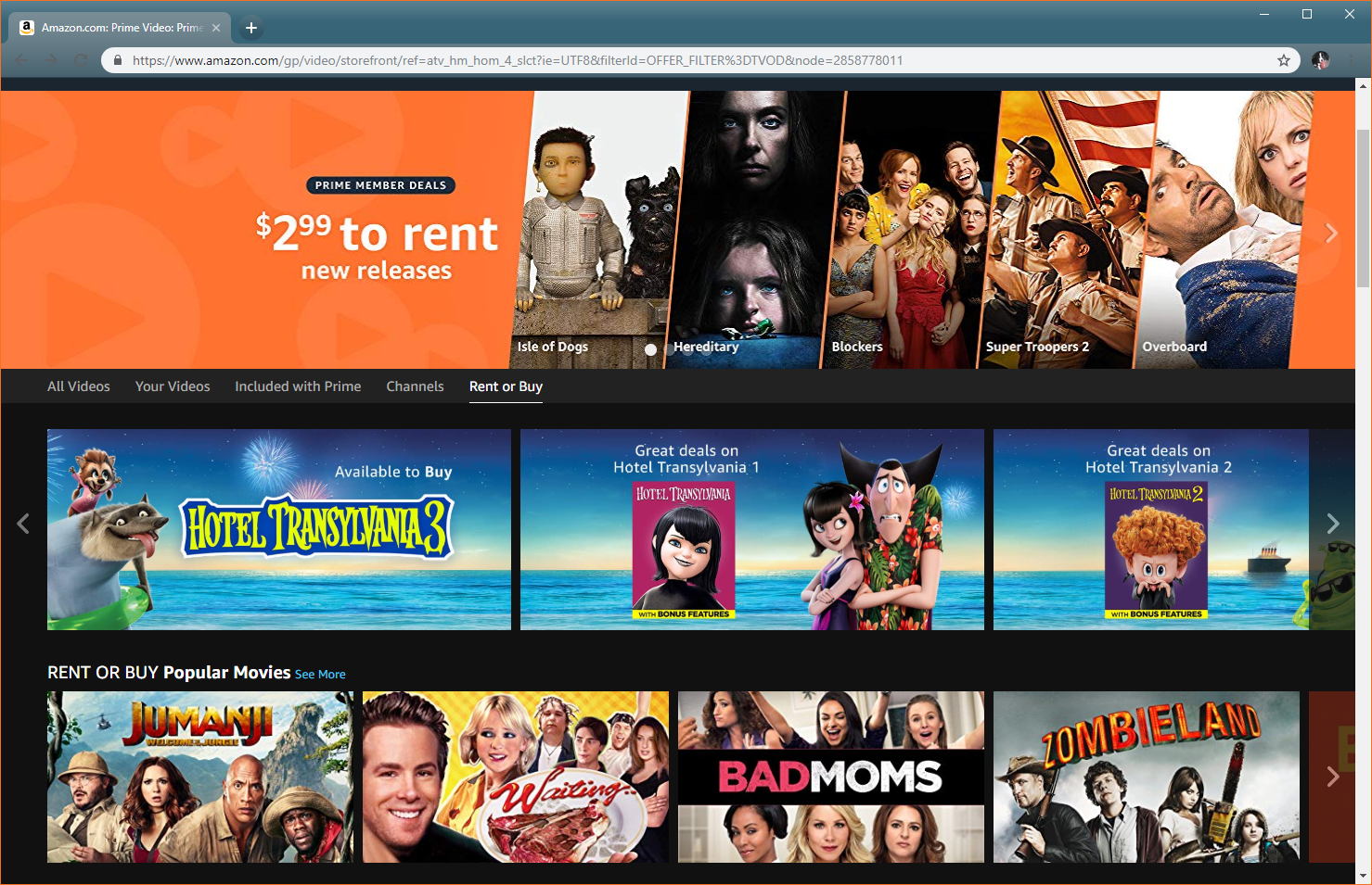 A screenshot of Amazon Video showing movies to rent or buy.