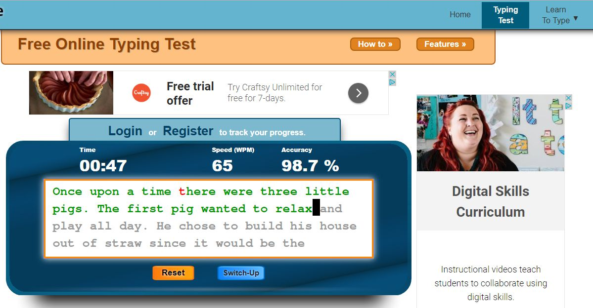 typing tests for free