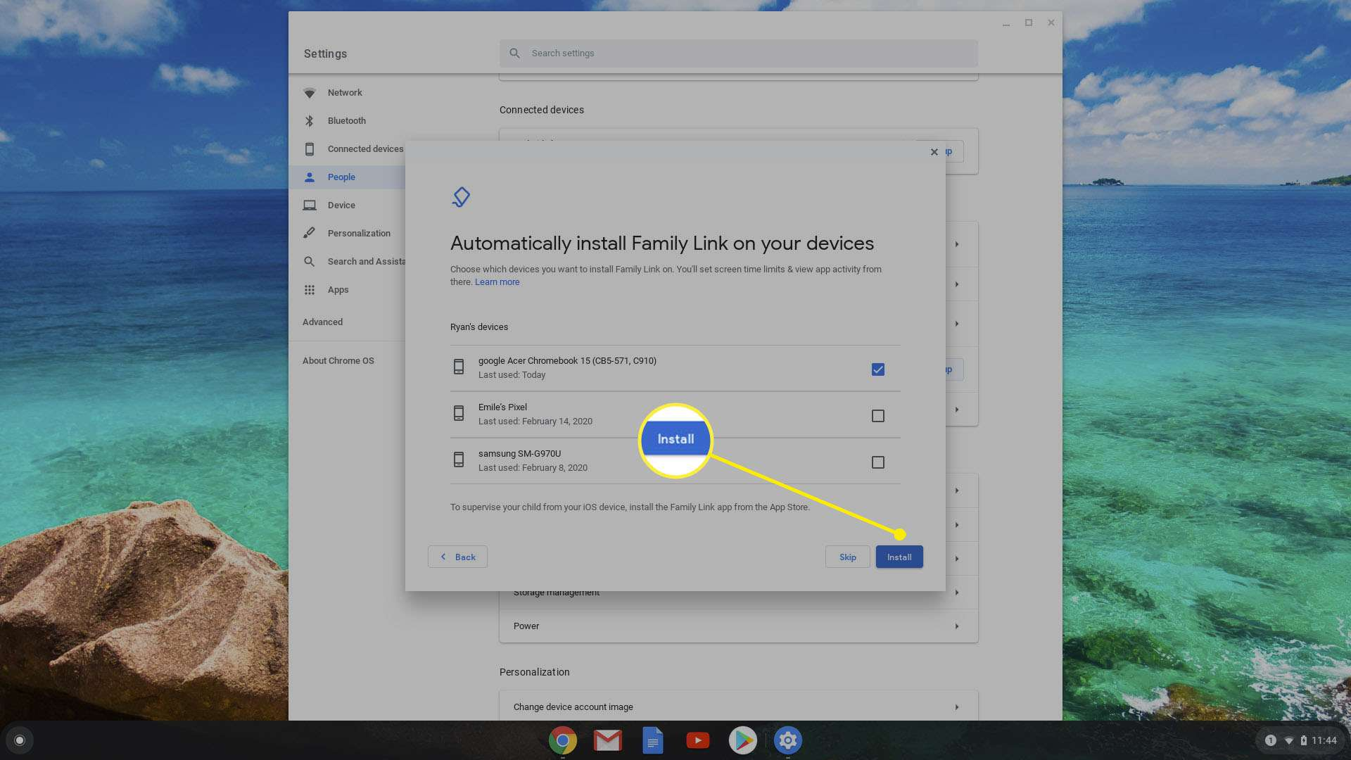 install family link on devices using Chromebook