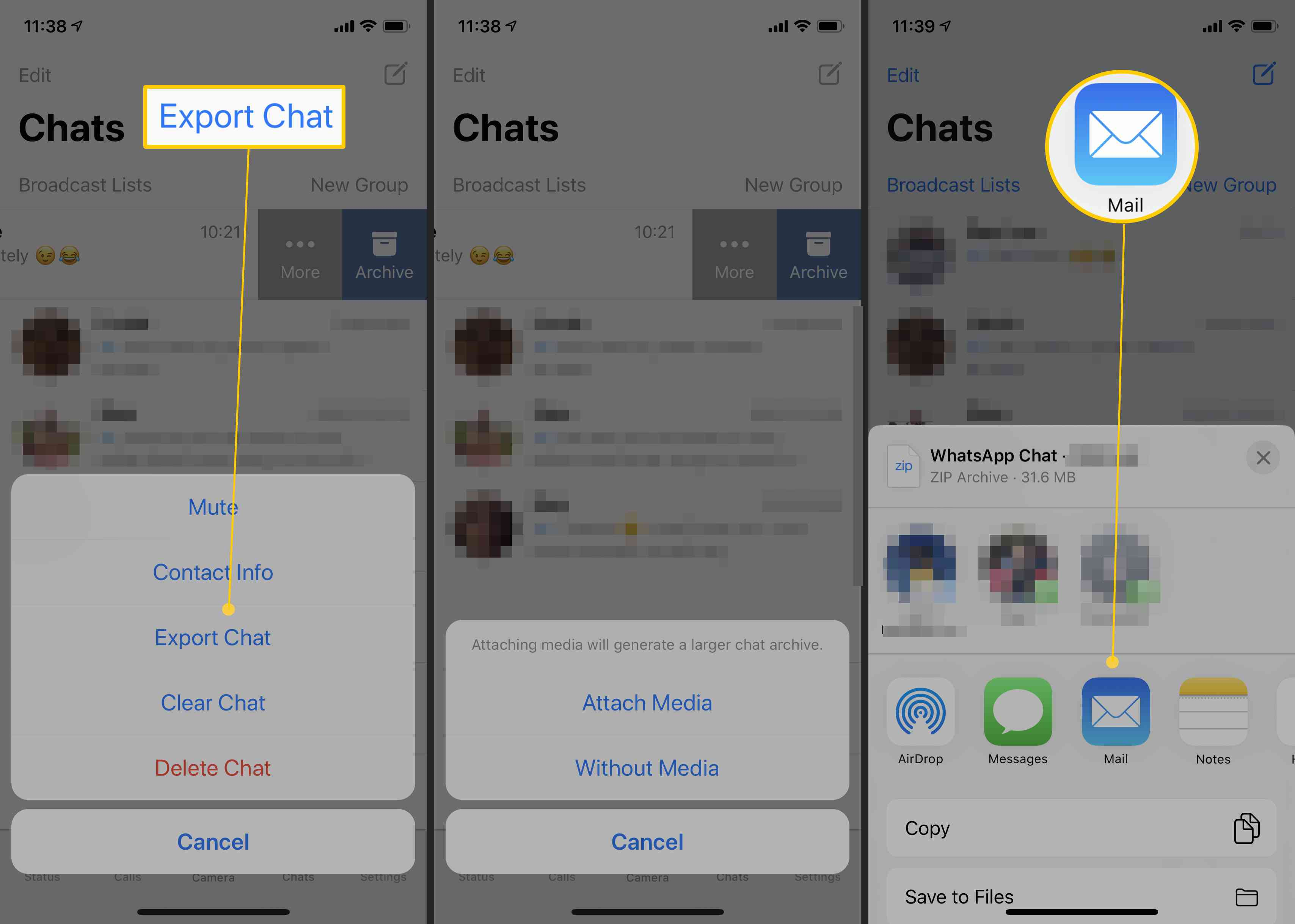 Steps for exporting your WhatsApp chats to a different location or email address