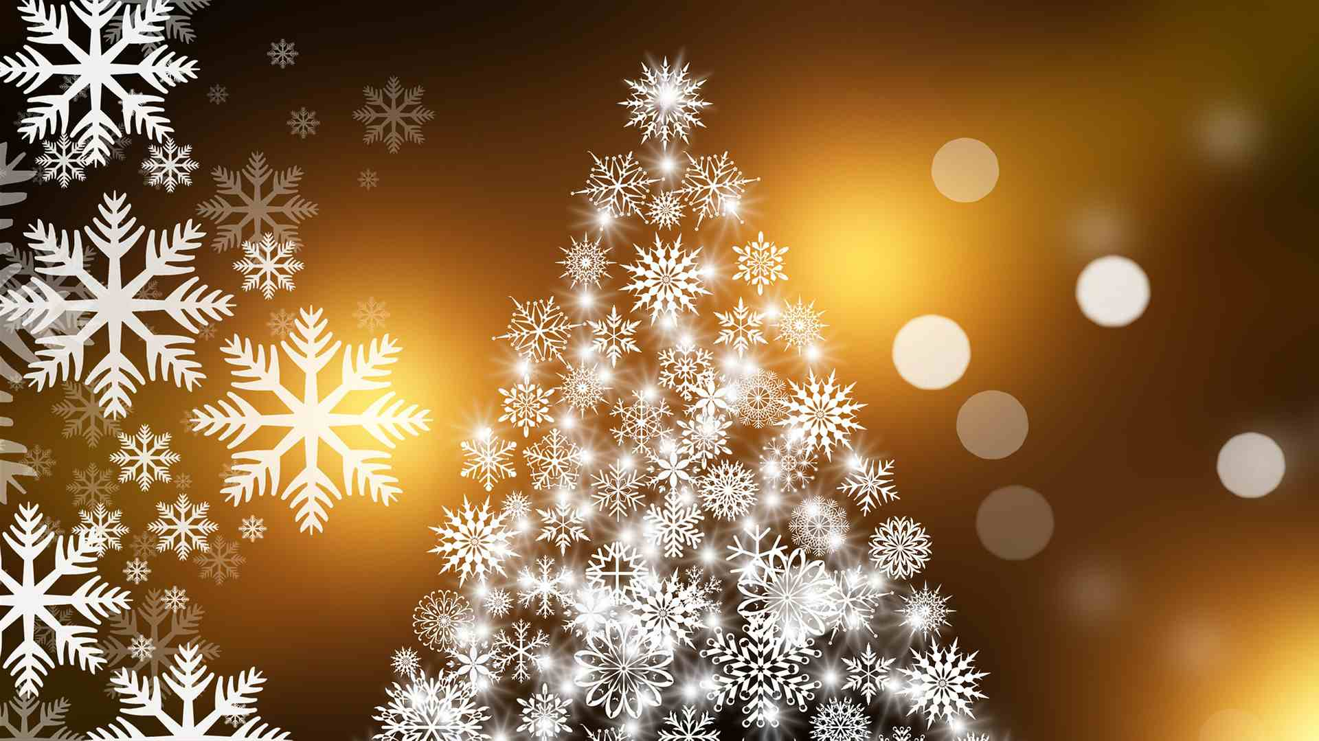 christmas card decoration of tree made of snowflakes - Free Christmas Ecards Animated