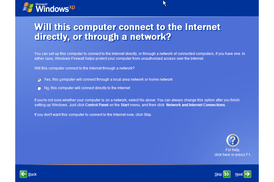 Screenshot of the internet connection choice screen during the Windows XP Setup Wizard