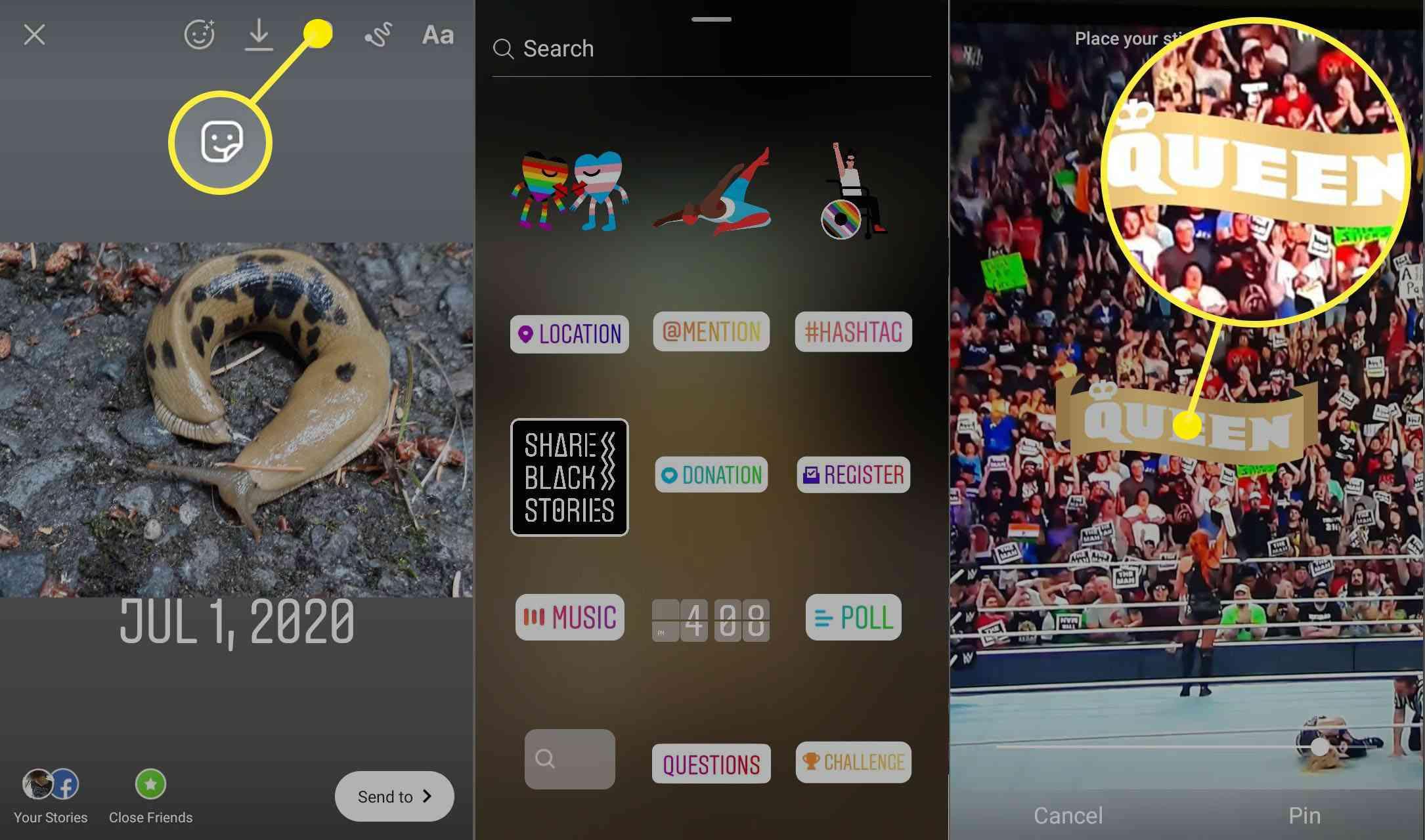 Screenshots of sticker options for Instagram stories.
