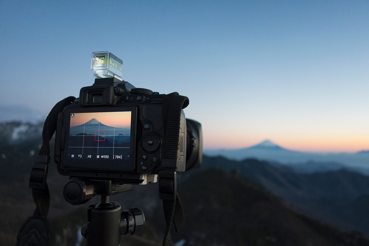 Camera with Mt. Fuji in the viewfinder