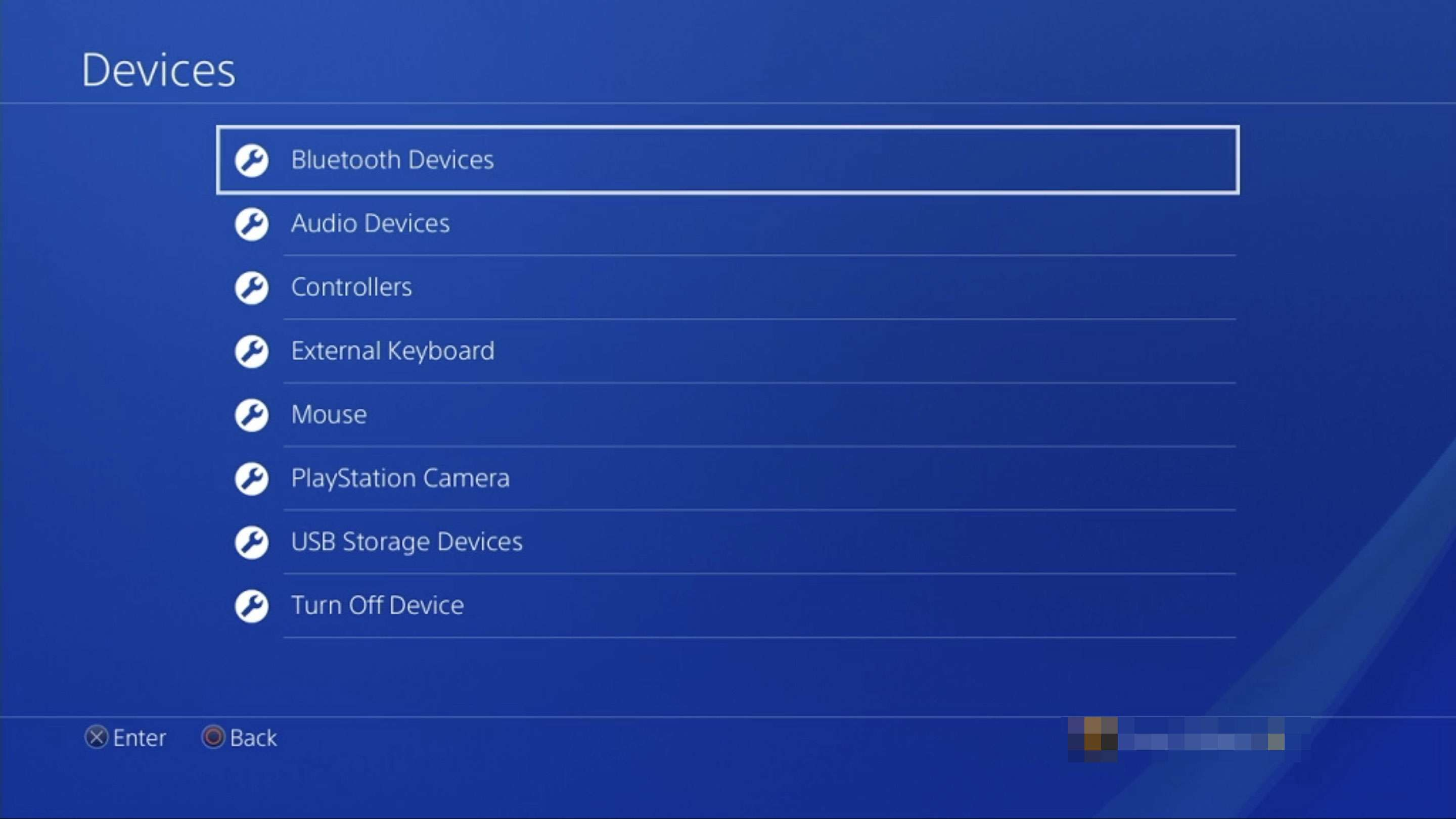 A screenshot of the PS4 Devices setting with the Bluetooth Devices option highlighted