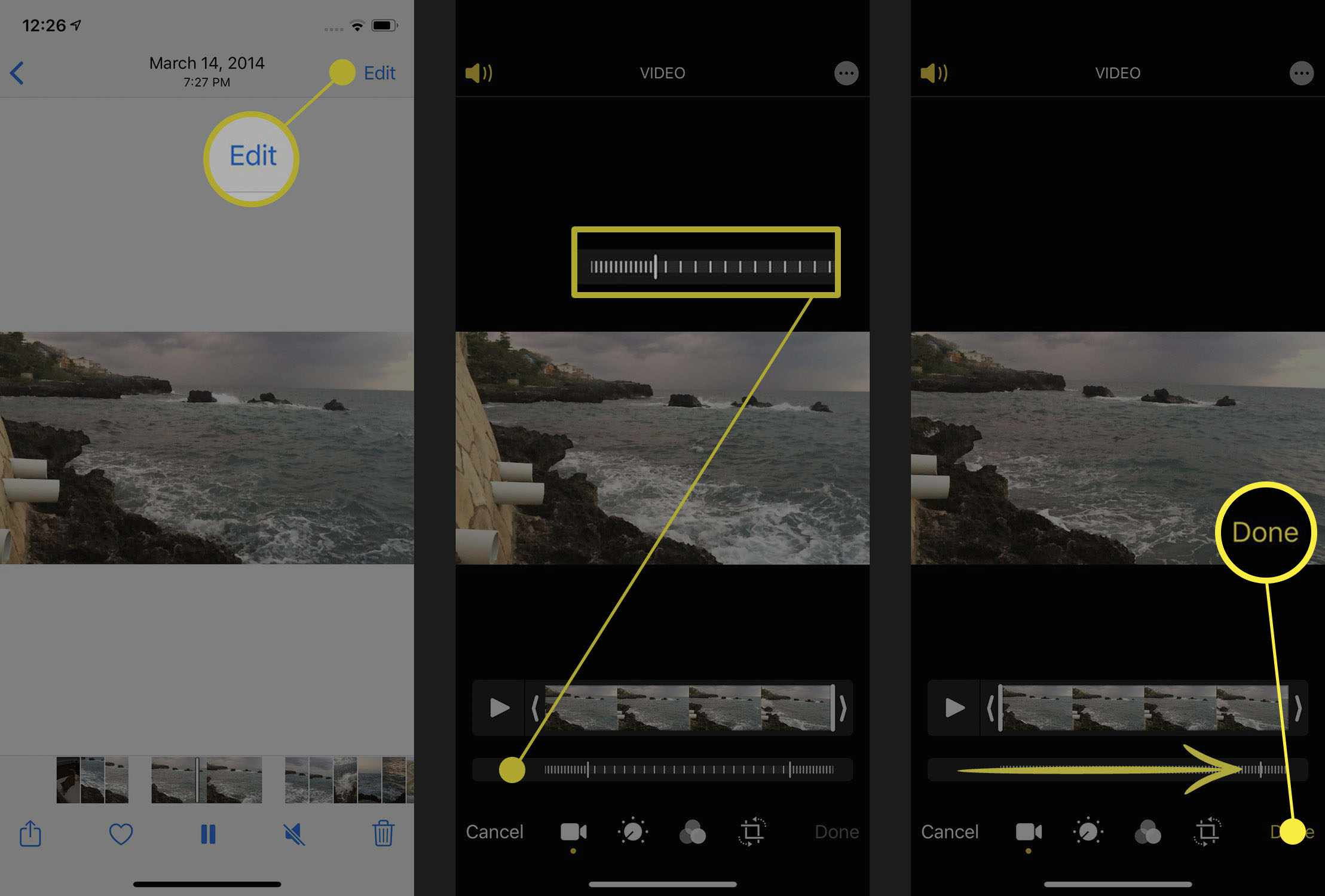 Screenshots of speeding up slo-mo videos in the iPhone Photos app.