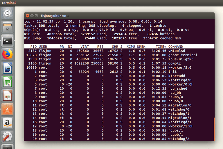 Screenshot of the Top command in Ubuntu