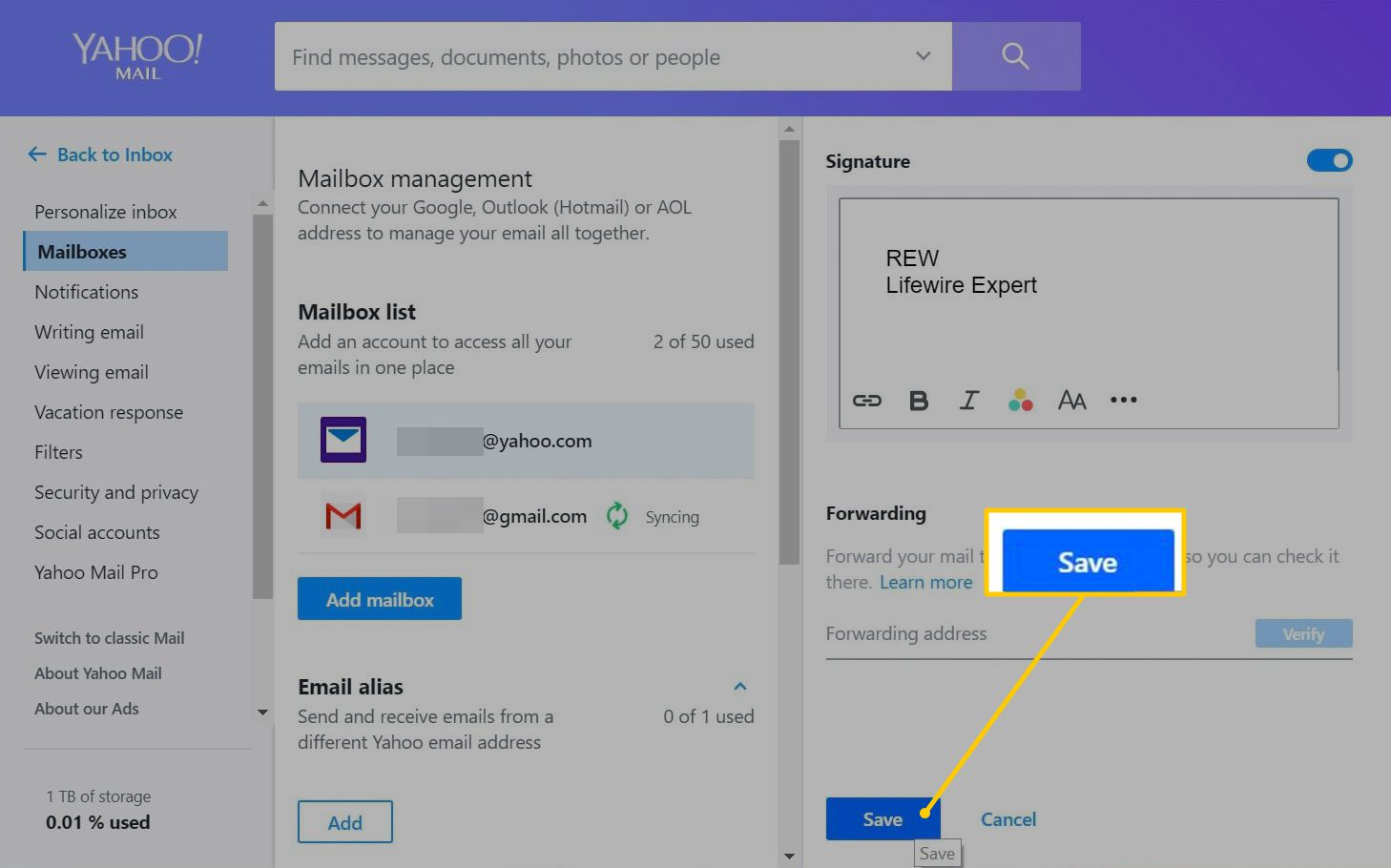 Save button in Yahoo Mail Settings