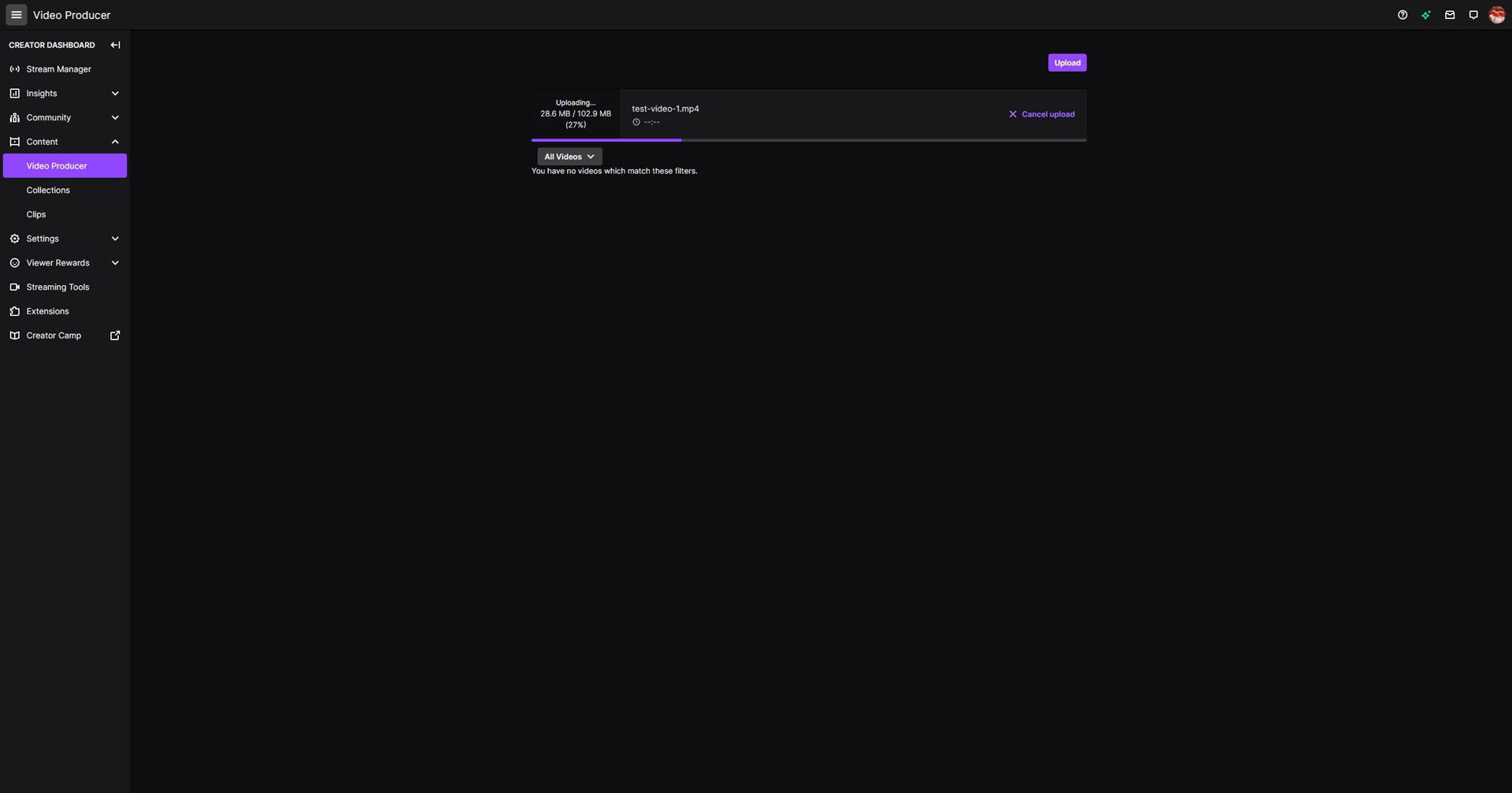 A screenshot of a video being uploaded to Twitch.