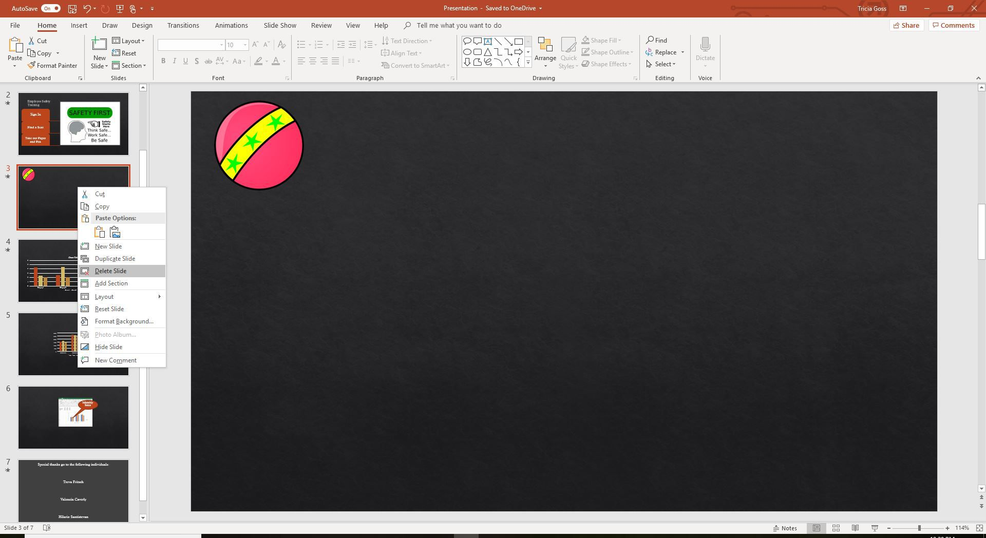 A screenshot of deleting a PowerPoint slide.