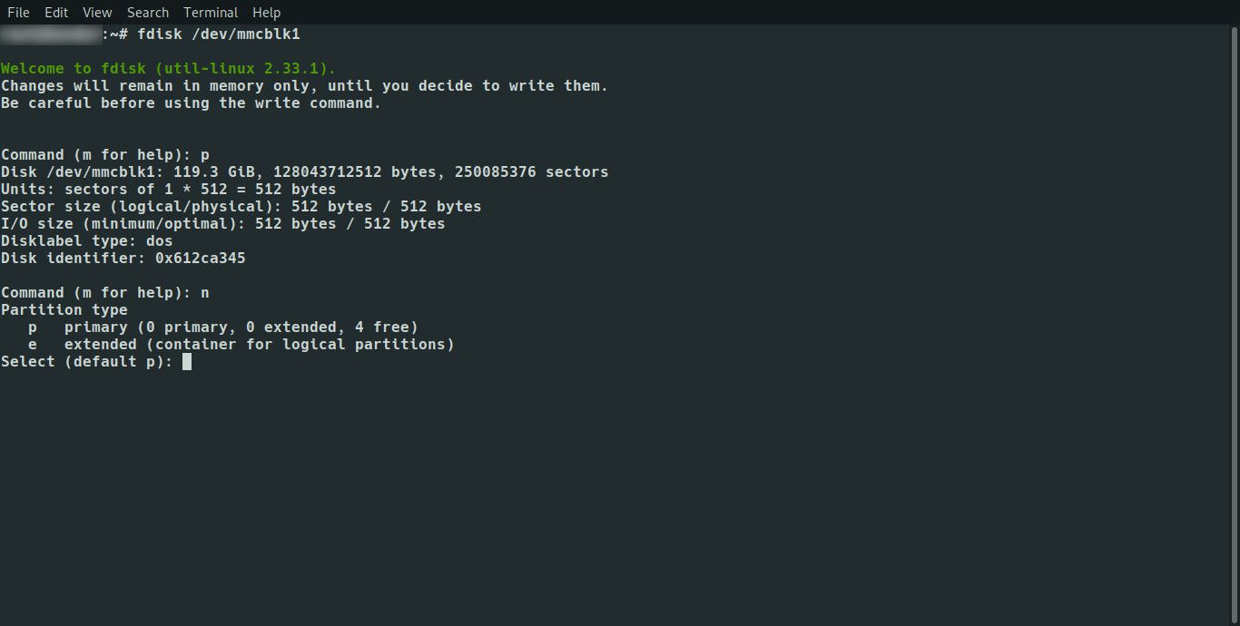 Linux fdisk set partition type