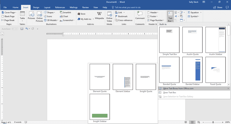 Screenshot of Microsoft Word menu