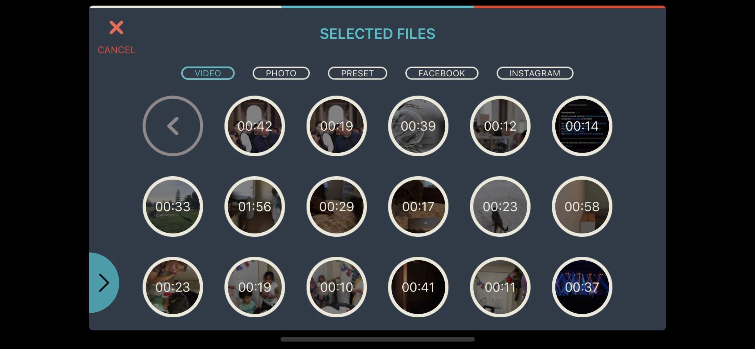 Screenshot of Filmora Go file picker on iOS