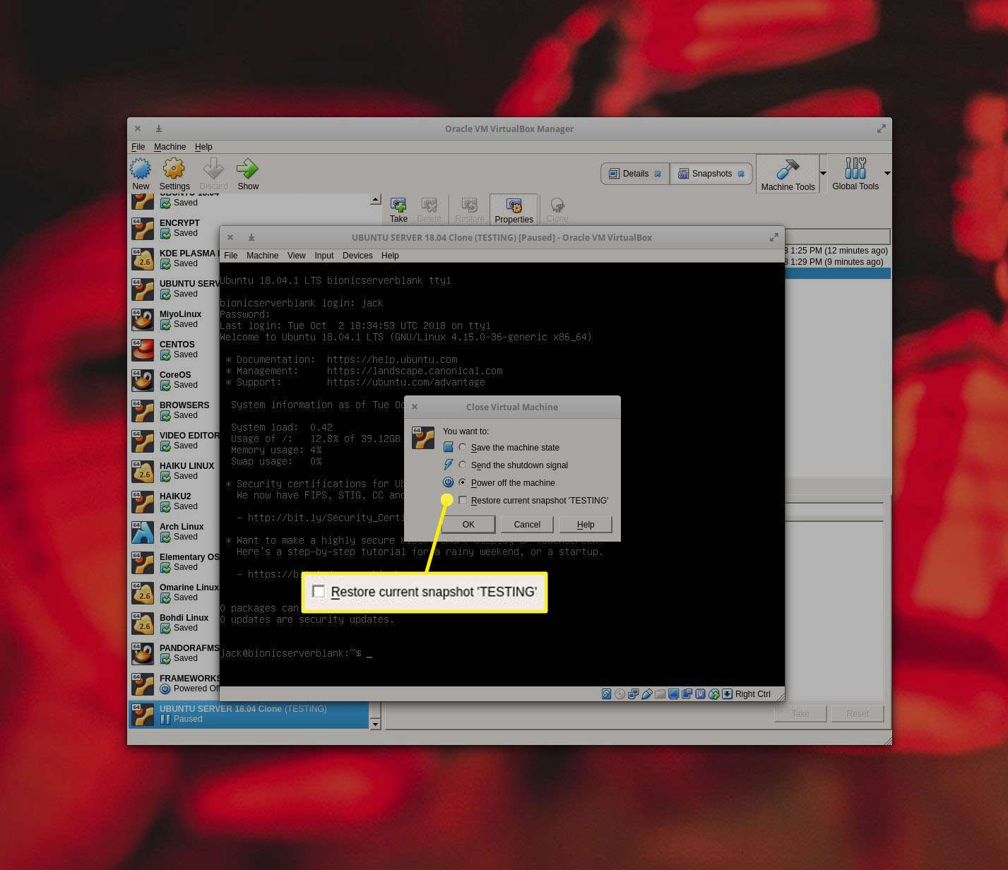 It is also possible to restore a snapshot from the Close dialog.