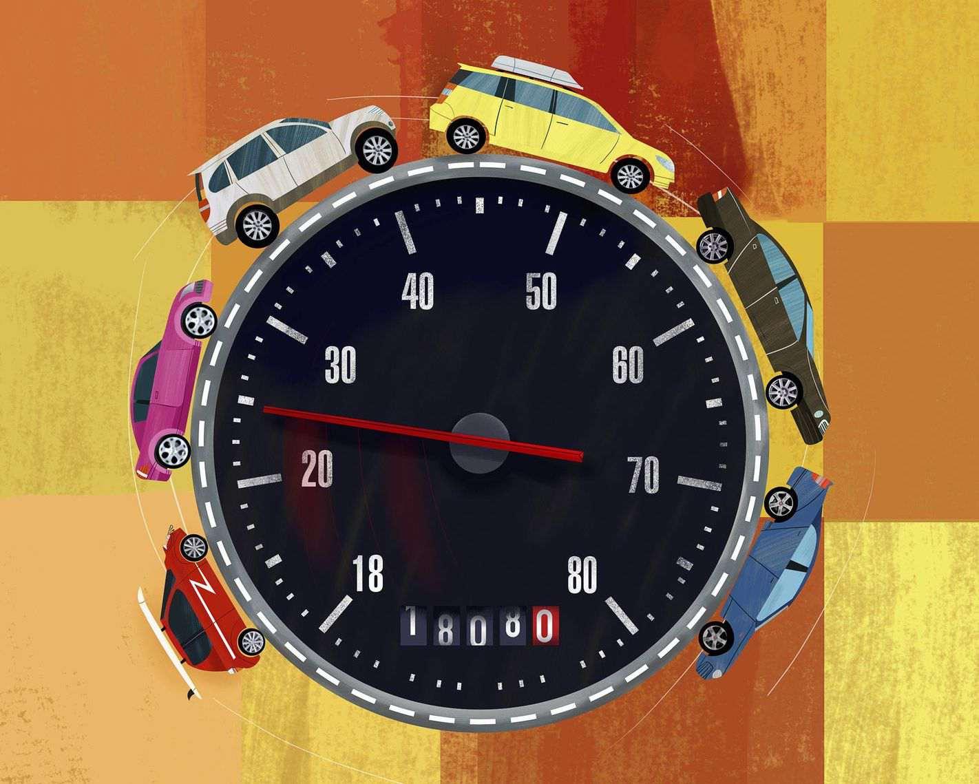 Illustration of cars driving around speedometer