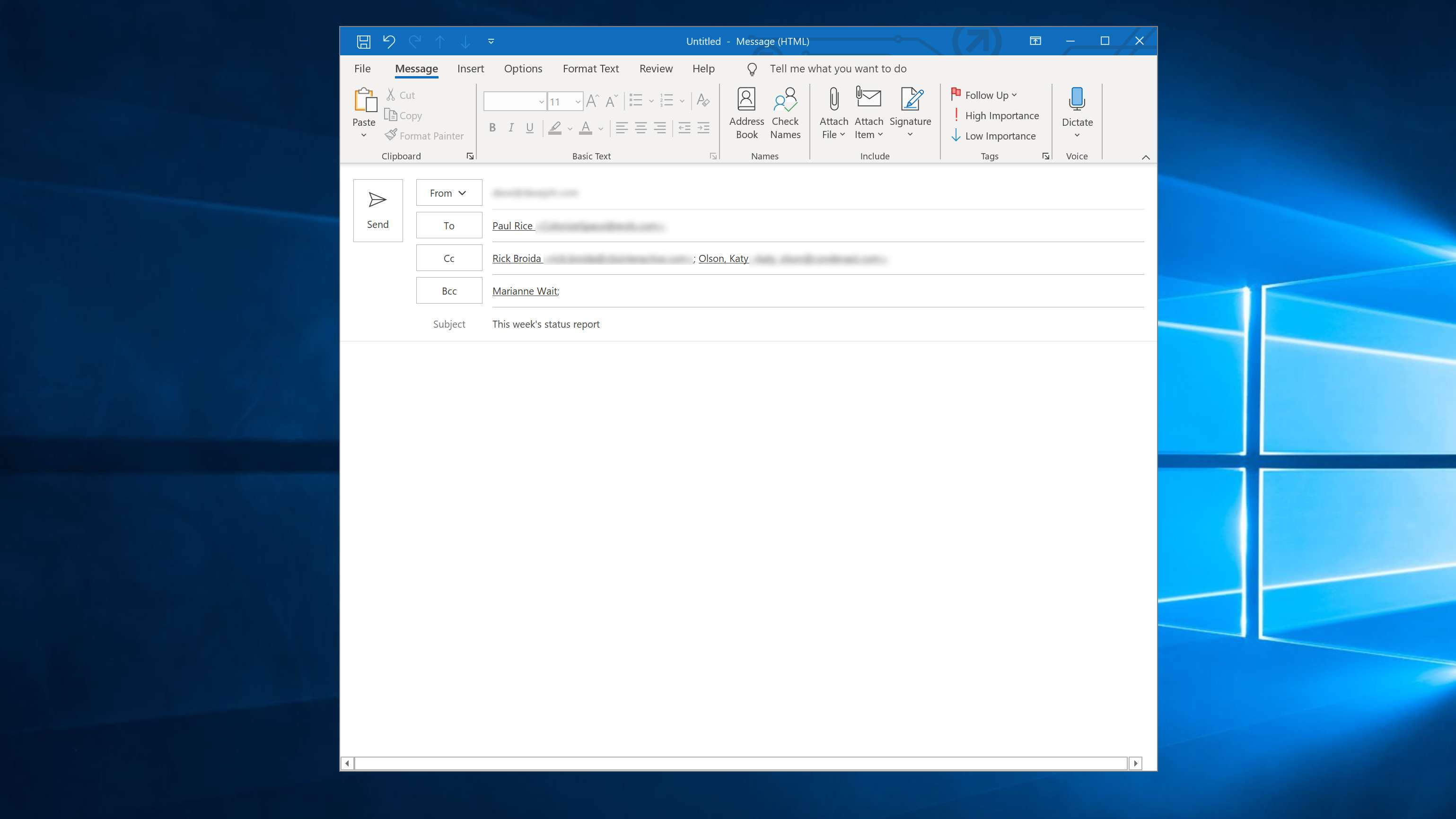 Email window showing CC and BCC fields