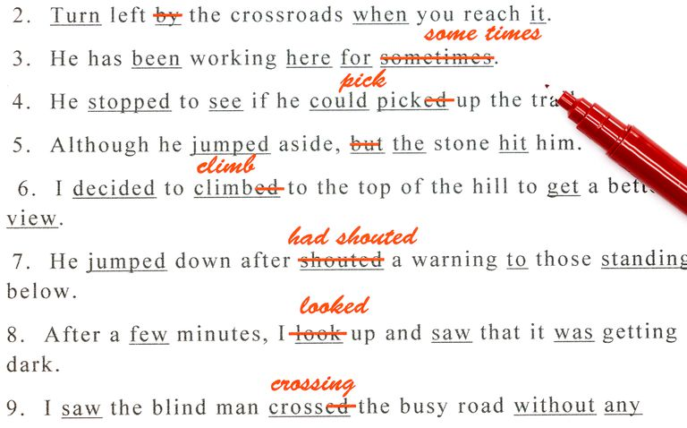 sentences corrected in red ink