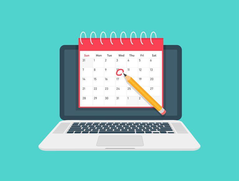 Dates and Deadlines banner. Laptop computer with calendar. Flat design, vector illustration on background.