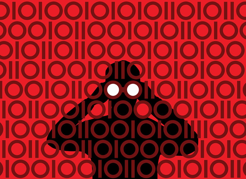 Businessman with binoculars peering through binary pattern