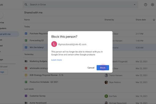 Google Drive block user pop-up
