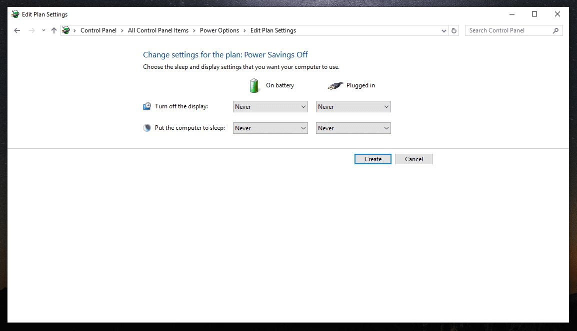 Changing settings for power plan