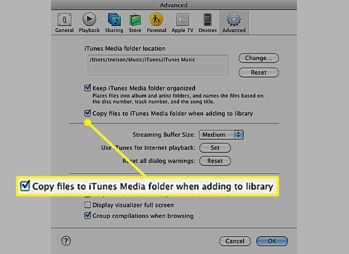 Check mark in front of Copy files to iTunes Media folder when adding to library