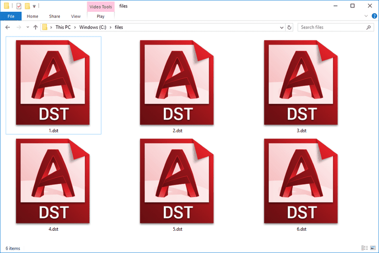 DST files in Windows 10 that are used with AutoCAD