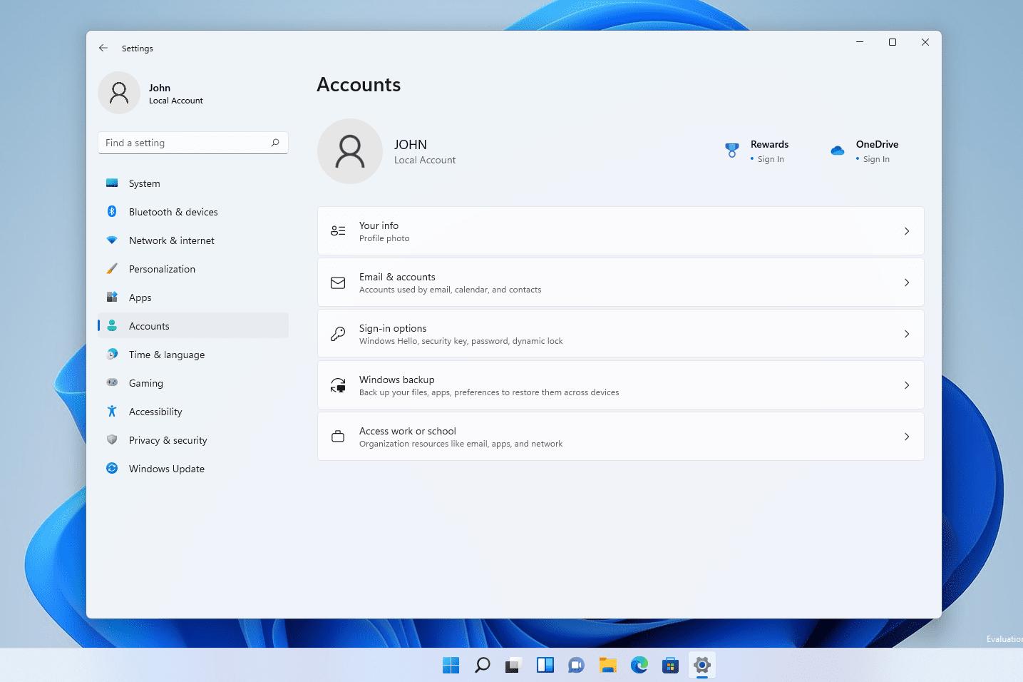 Windows 11 account settings