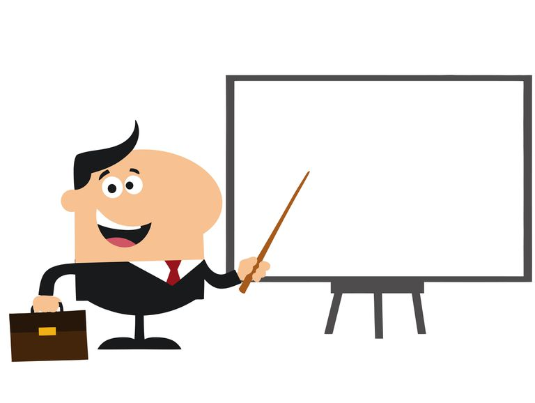Illustration of a Manager Pointing To A White Board