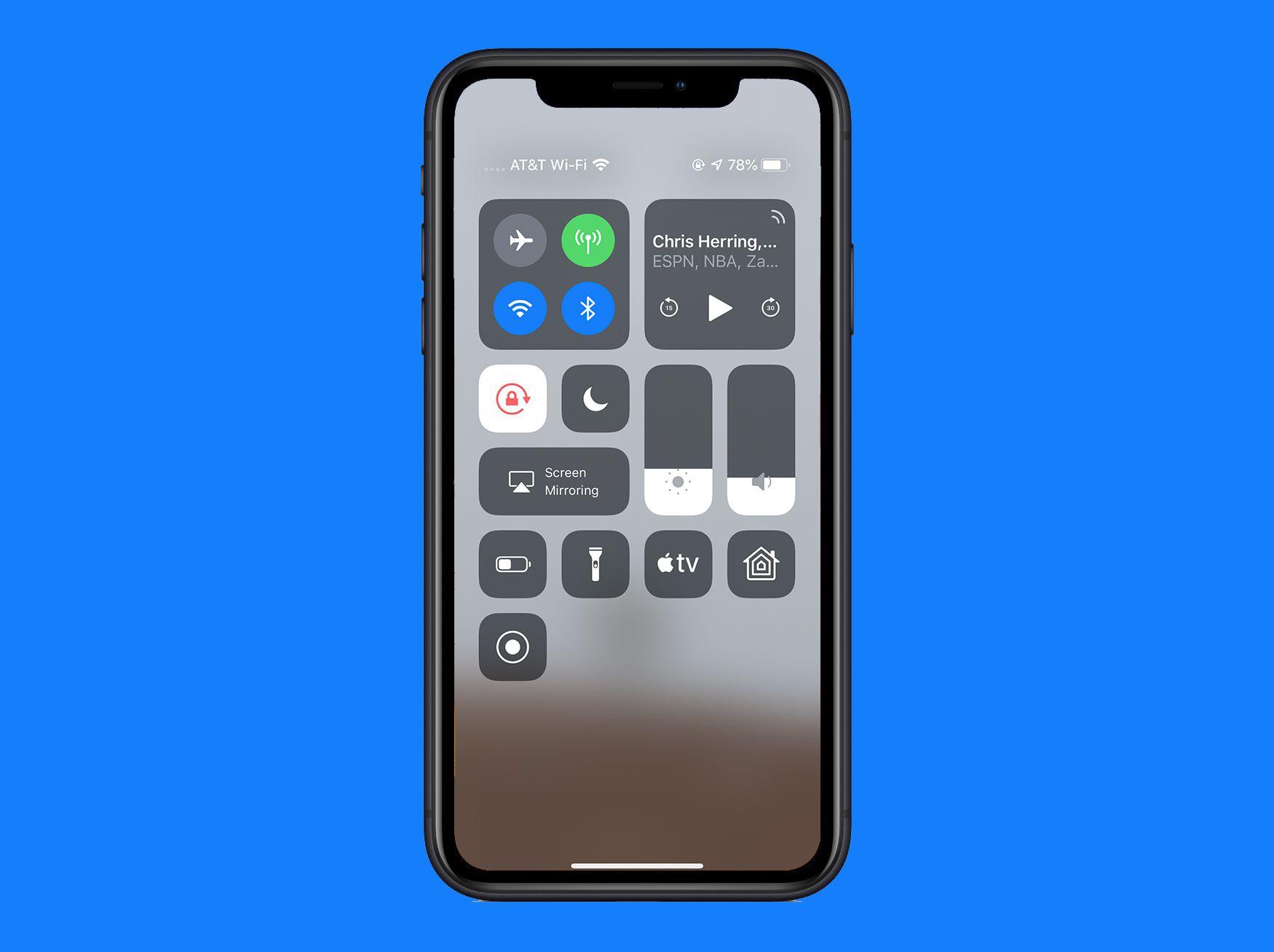 control center in iOS 12