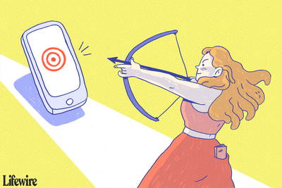 A person shooting a target on a large smartphone with a bow and arrow