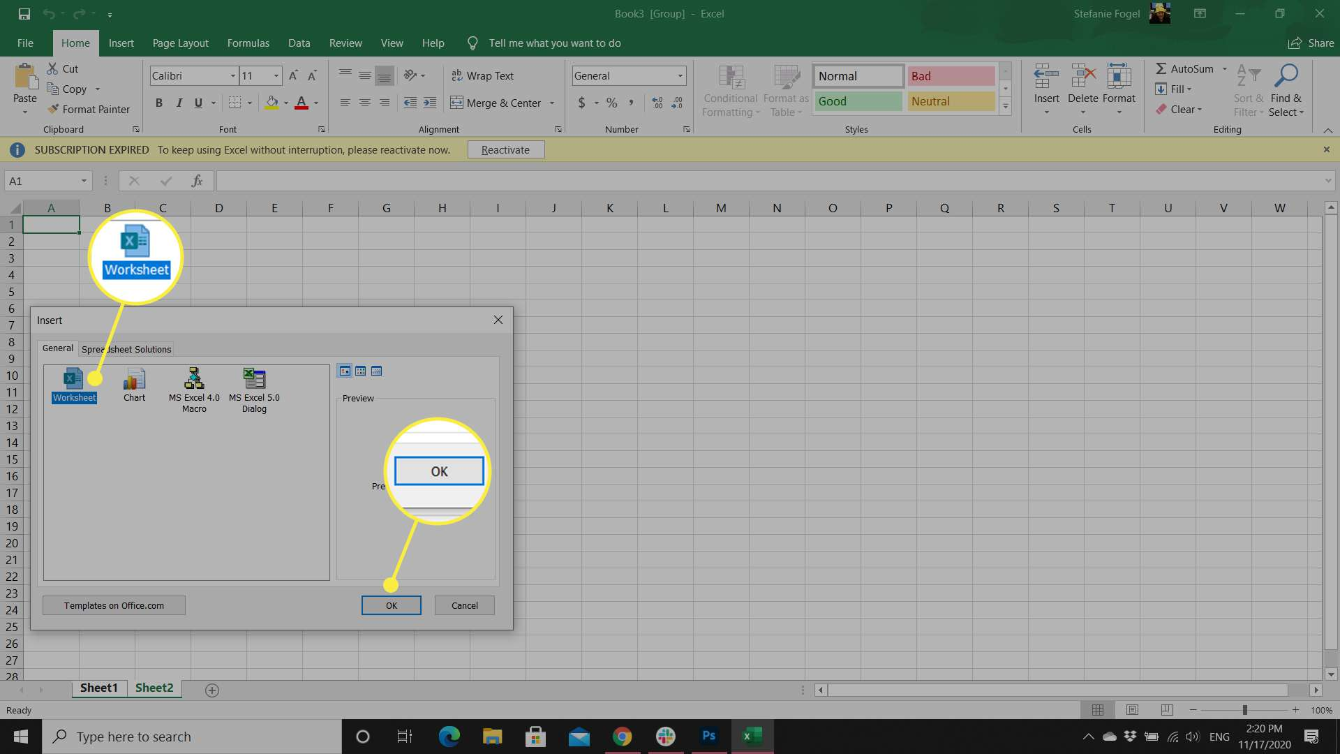 An Excel worksheet with the Insert options dialog box displayed