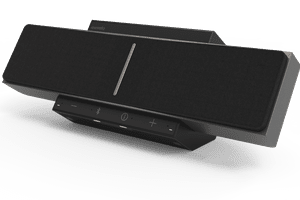 The front of the SoundBeamer 1.0 in black and resting at an angle pointing up