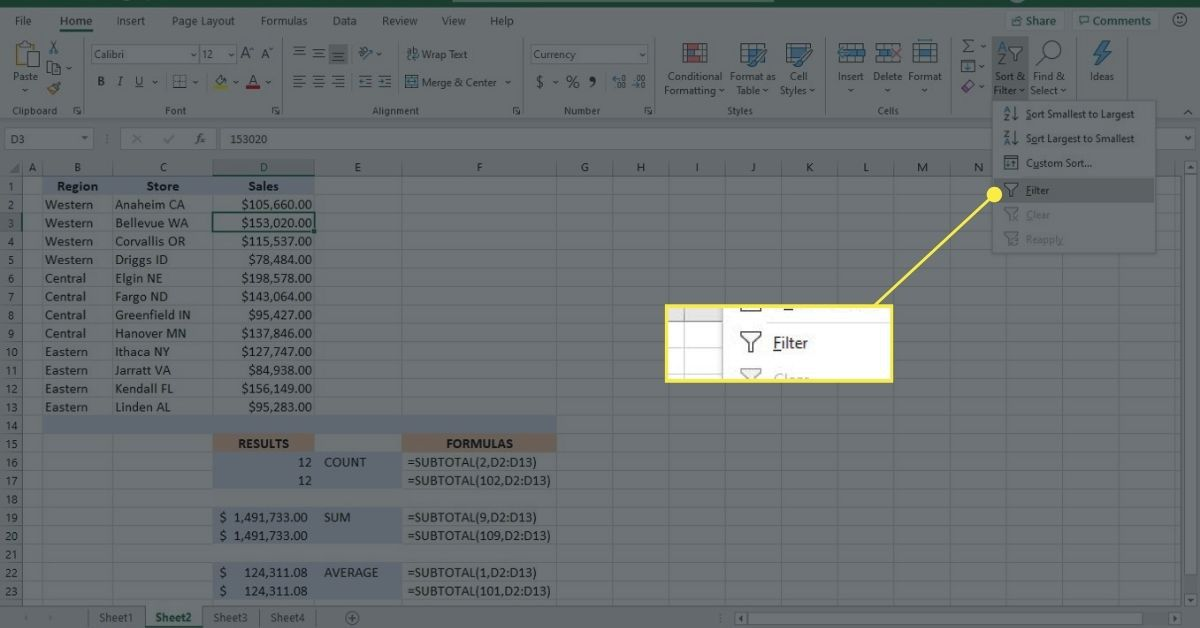 Filter data in an Excel worksheet to see the result of the SUBTOTAL function