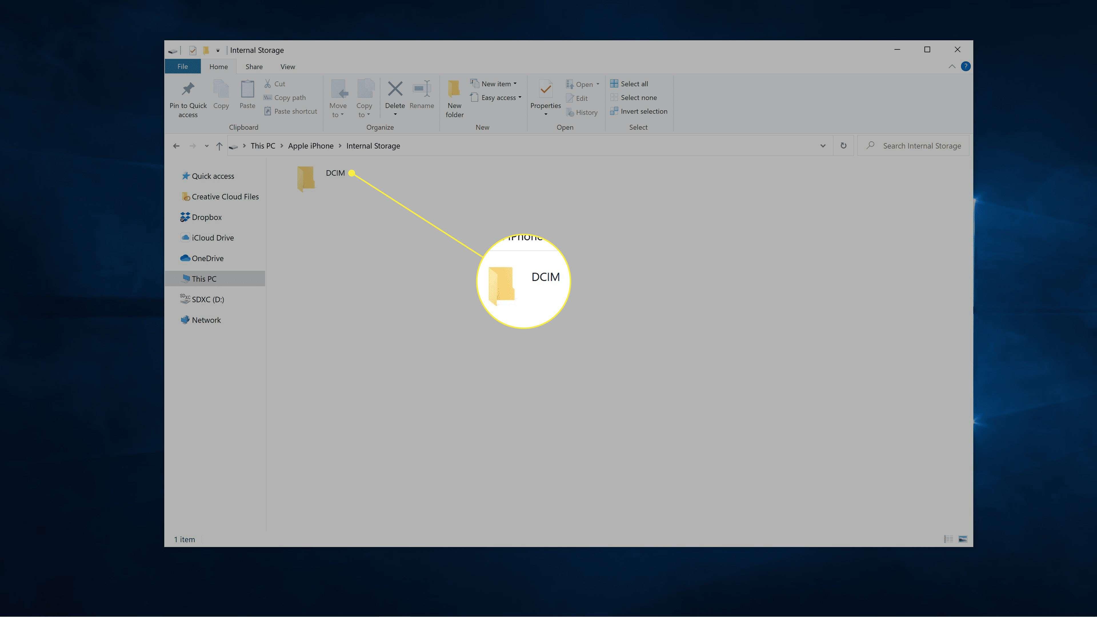 DCIM highlighted in Windows file explorer.