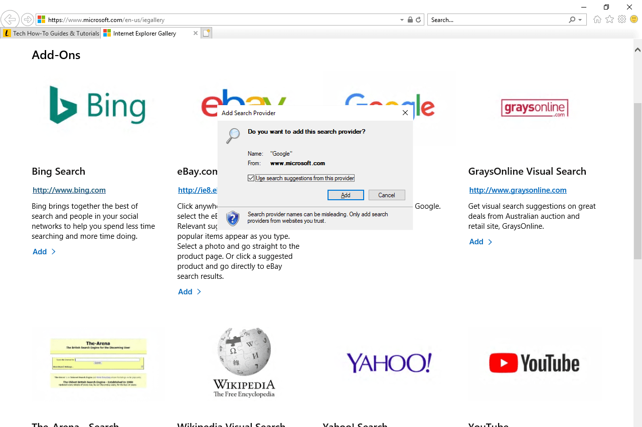 Add Search Provider pop-up in Internet Explorer