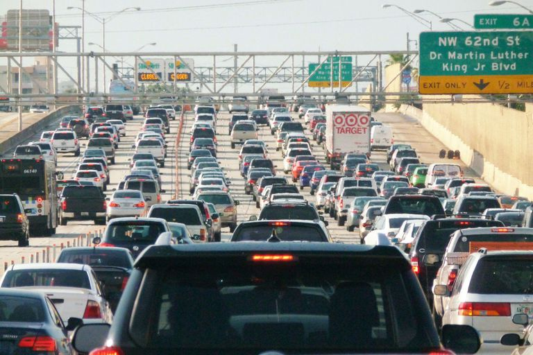 A photograph of a traffic jam in Miami, Florida