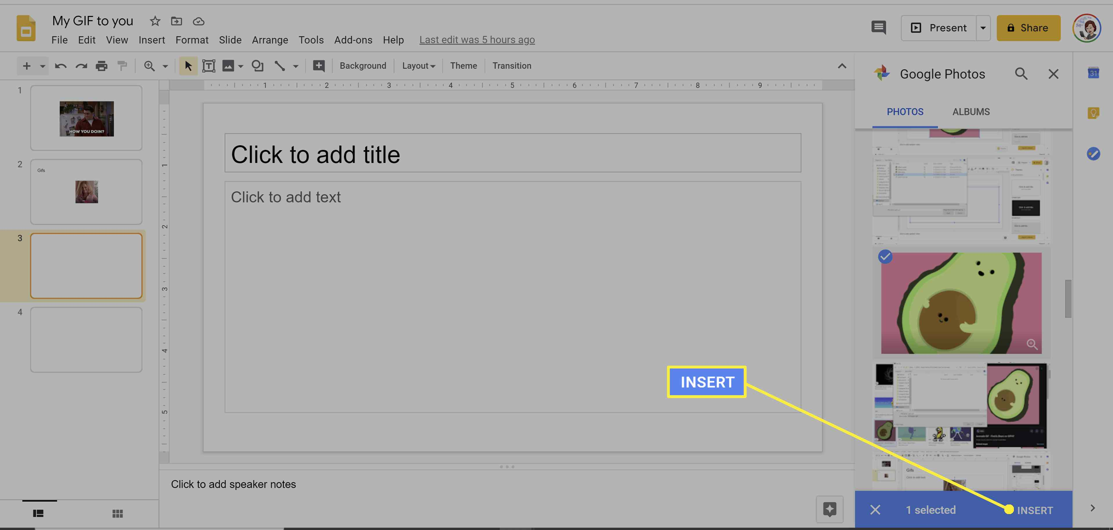 Inserting GIFs into Google Slides.