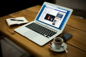 Facebook opened on a MacBook Air laptop