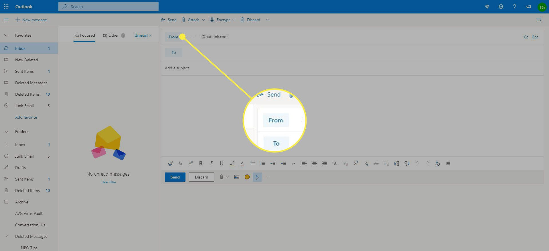 A screenshot of Outlook with the From field highlighted