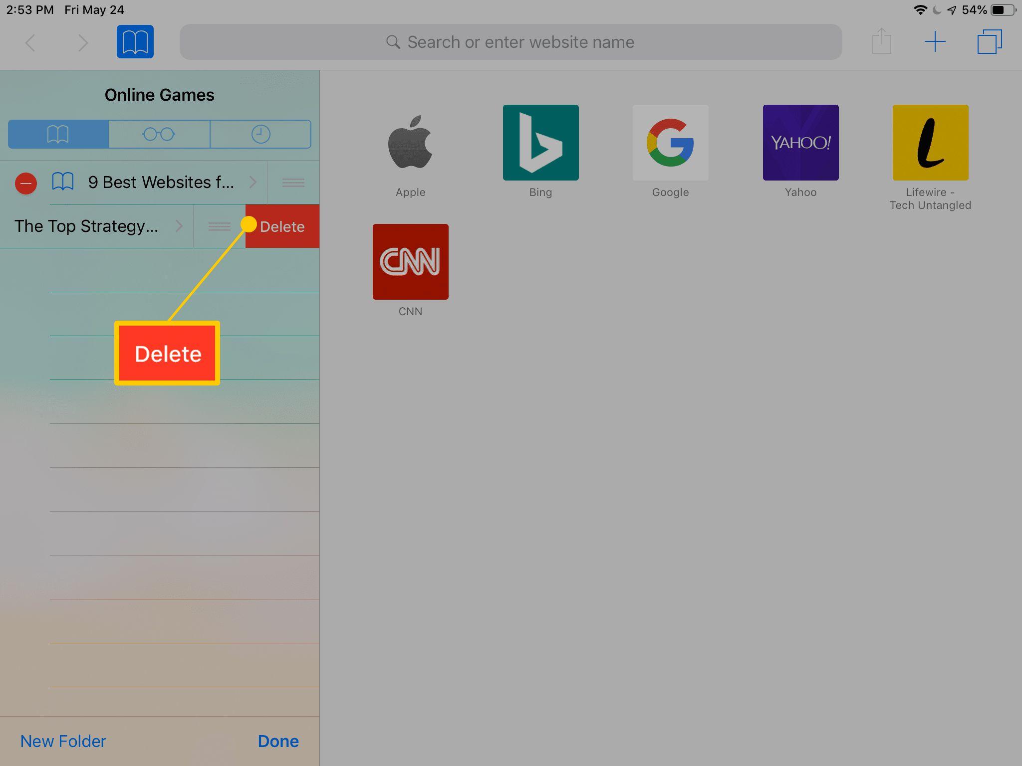 Delete button for Bookmarks on Safari for iPad