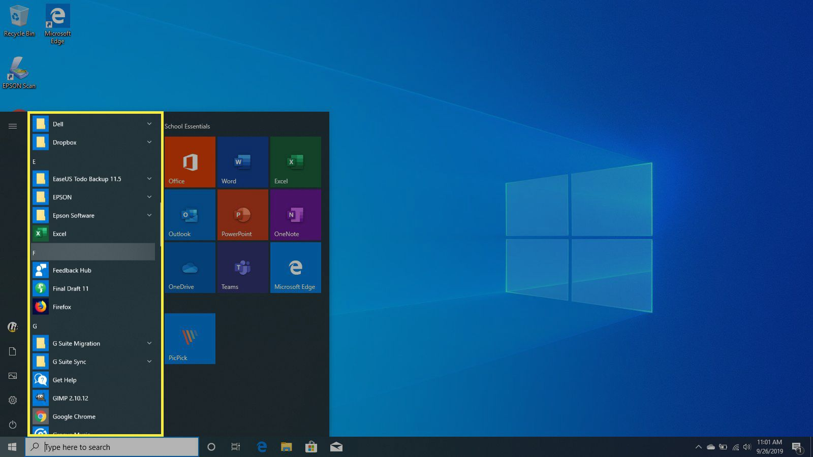 The Apps list in Windows 10