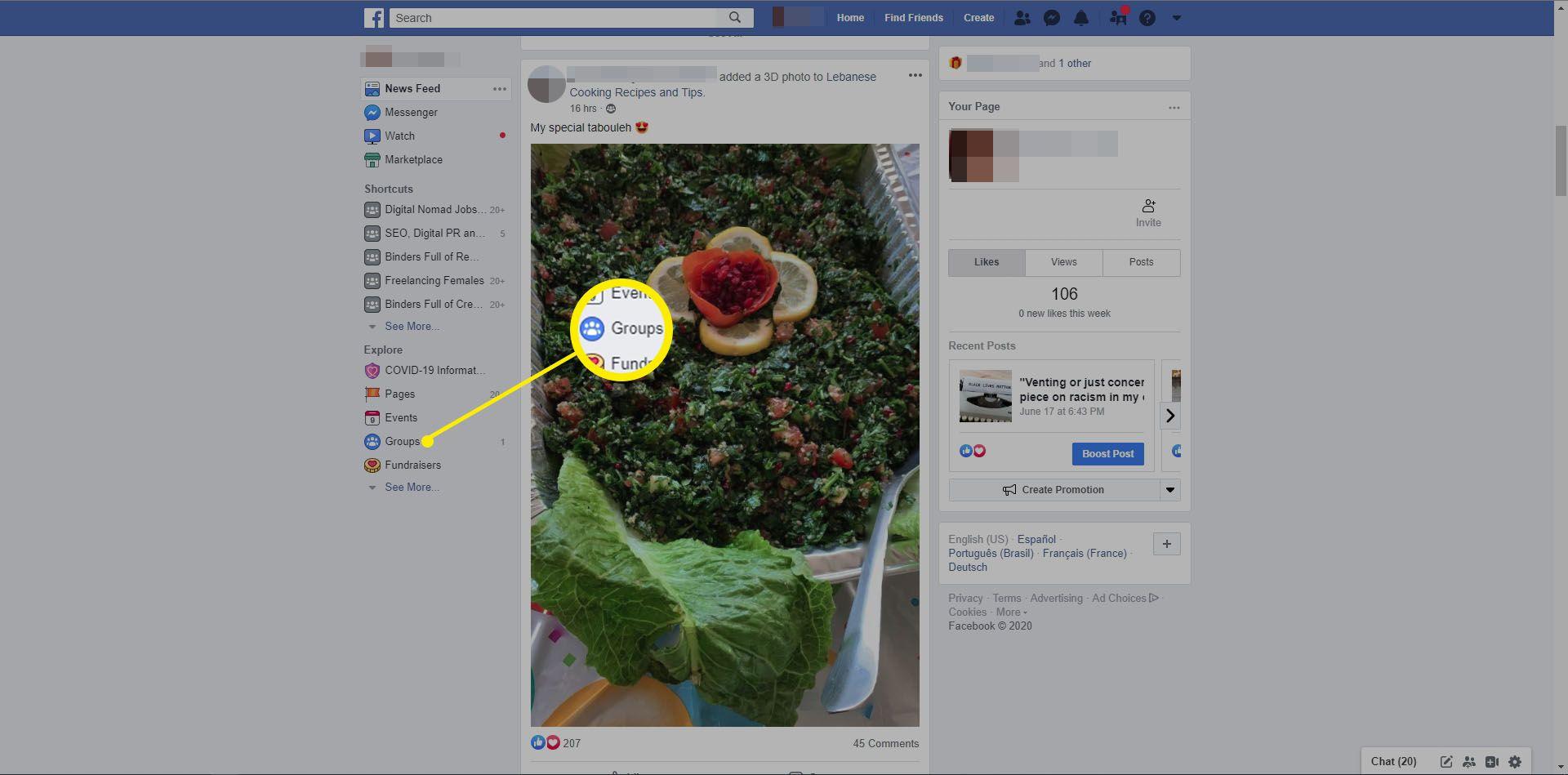 Selecting Groups in Facebook website.